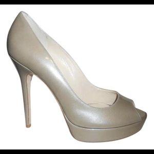 Jimmy Choo Crown Heels Light Khaki Enamel Patent